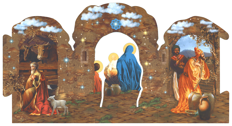 конструктивная открытка рождественский вертеп портативное